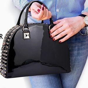 NWoT Black Patent Studded Bowler Handbag
